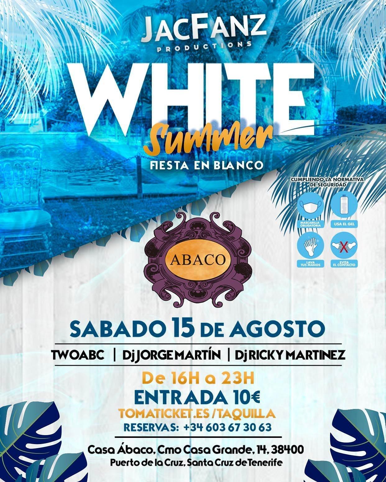 White Summer fiesta en blanco abaco puerto cruz concierto agosto 2020