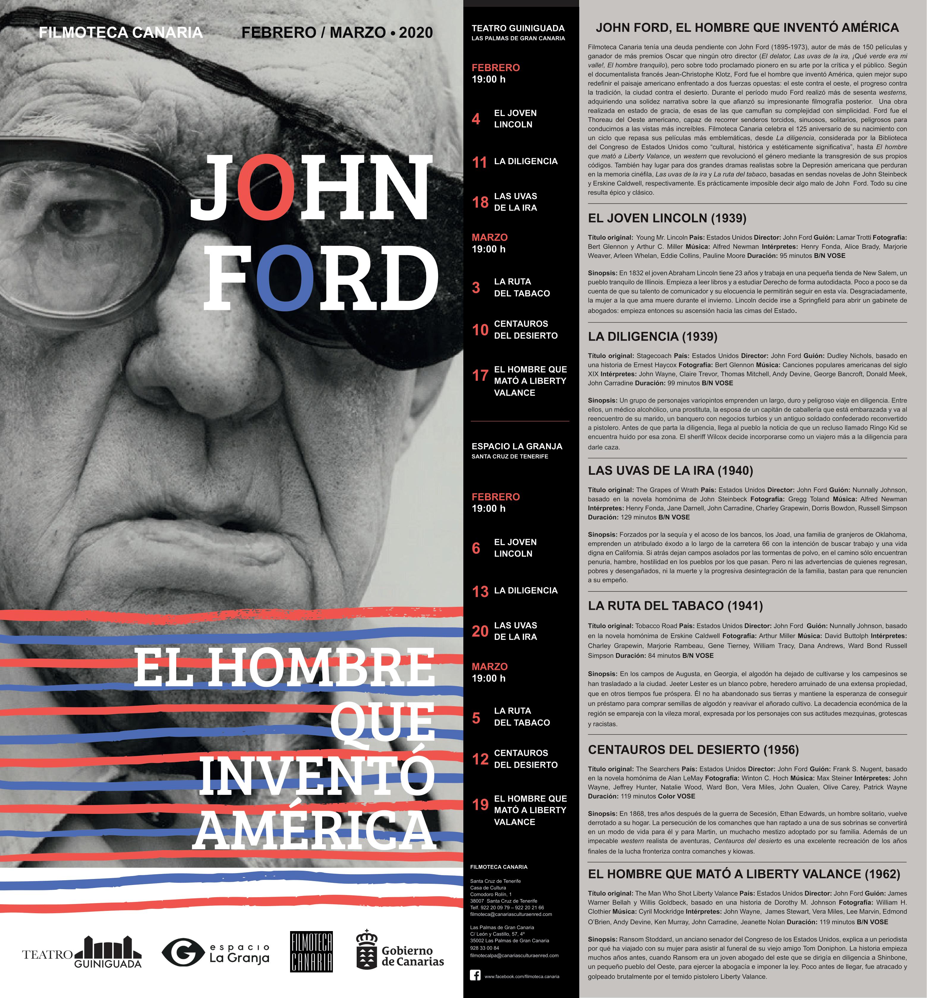 Ciclo John Ford filmoteca canaria granja santa cruz febrero marzo 2020