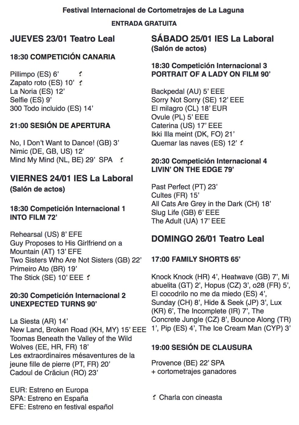 VII séptimo Festival Internacional Cortometrajes Laguna teatro leal enero 2020